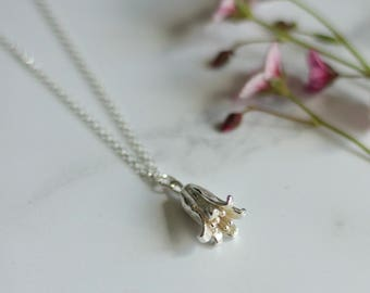 Silver bluebell necklace, bluebell necklace, bellflower necklace, nature jewellery