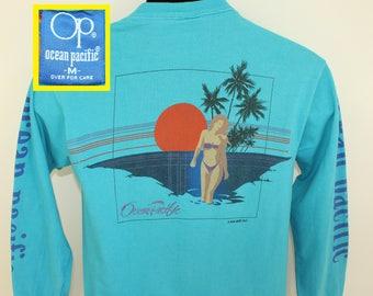 Ocean Pacific 1983 vintage long-sleeve t-shirt S turquoise blue 80s crew neck beach scene