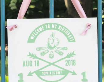 Kids Birthday Party Prop | Welcome Banner | Campfire Theme Personalized | Hanging Sign 1355 BB