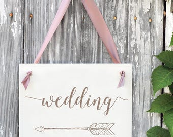 Wedding Directional Sign | Left Arrow Pointing to Wedding Ceremony or Reception | Feather Arrow Wedding Signage | Banner 1429L BW
