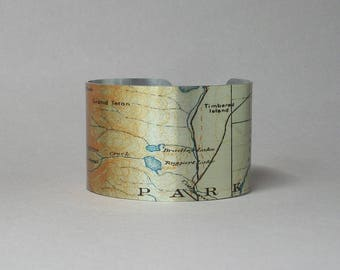 Taggert Lake Trail Grand Teton National Park Wyoming Map Cuff Bracelet Unique Gift for Men or Women