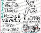 NEW! Dark Sentiments Set 1 - set of 5 Sentiments (2 are originals) - Dark Valentine Collection by Leigh Snaith-Brunton of LeighSBDesigns