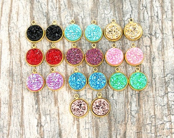 20 Mixed Druzy Pendants Assorted Colors with Gold Tone Cabochon 18.5mm x 14mm MCOL1G NEW3