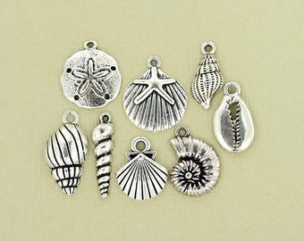 Seashell Charm Collection Antique Silver Tone 8 Different Charms - COL125 NEW5