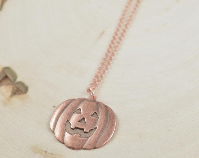 Rustic Pumpkin Face Charm Necklace