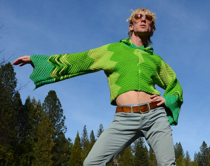 Crochet Sweater Shades of Green ZigZags Bell Sleeves and Hood Wool