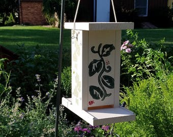 Bird Feeder, Painted Solid Wood Construction, Easy Fill Design, Color: Beige with Vines and Insects