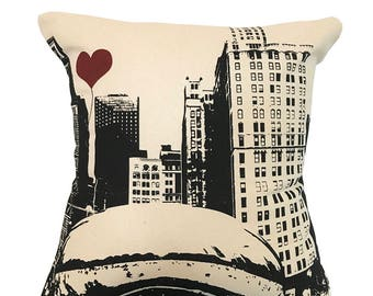 The Bean in Chicago Square Canvas Throw Pillow