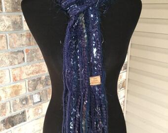 Navy Blue White Scarf Fall Fashion Winter Fringe Skinny Scrappy - Blueberry - Handmade