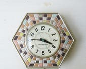 Vintage GE Kitchen Wall Clock - Hexagon Pastel Tile - Mid Century Kitchen - General Electric Wall Clock - 1950's