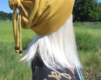 Slouch Hats Beanie Tie Back Top Wrap Bohemian Slouchy Women's Mustard Yellow Merino Wool  Knit Winter Hat BOHO Clothing  A