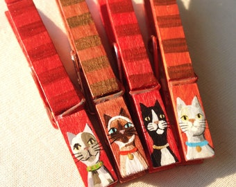 cat clothespins rusty red stripes hand painted magnetic clothespins siamese calico grey cat