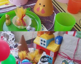 Birthday Farm Animals - Printable Party Hat - Barnyard - Instant Download - Digital File