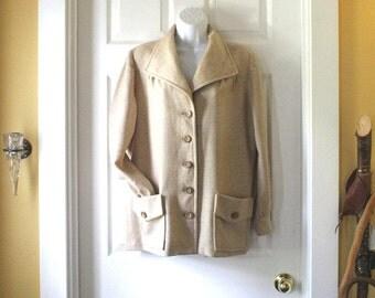 Light weight Wool Jacket, Women's Vintage Handmade 1970s Coat - Oatmeal