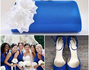 Princess Blue clutch with Off white flowers - Bridesmaid Clutch / Bridal clutch / Wedding clutch / Custom clutch