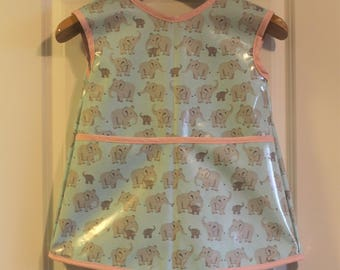 READY TO SHIP 4/5 Extra Long Kids Art Smock Waterproof Apron in Light Blue with Elephants