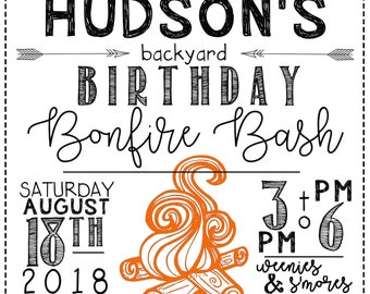 Personalized Bonfire Bash/Camping Party/Campfire S'More's Invitation -PRINTABLE jpg Digital Download