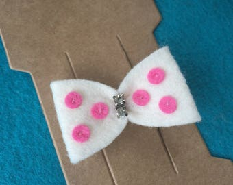 Ivory Cream with Pink Polka Dots Felt Hair Bow Clip