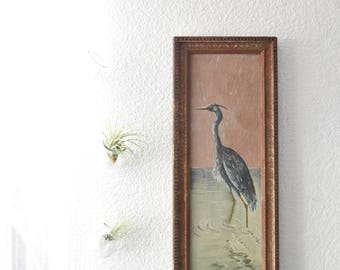 framed original great blue heron bird oil painting by L.D. McNeil