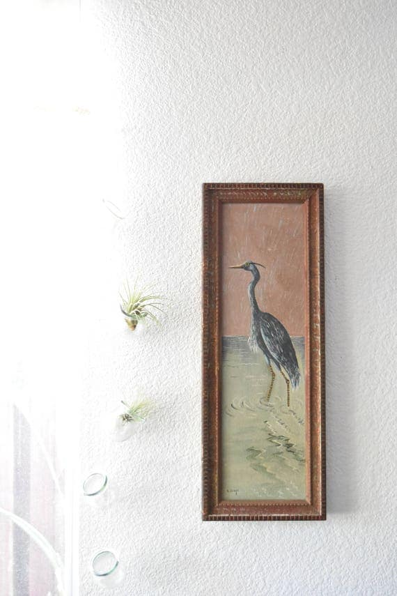 framed original great blue heron bird oil painting by L.D. McNeil