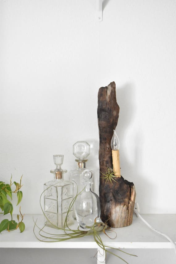 mid century natural wood flickering candlestick lamp