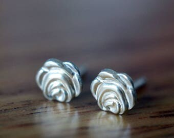 Silver Rose Earrings, Sterling Silver Rose Studs, Silver Flower Earrings, Flower Studs, Flower Girl Bridesmaid Gift, Women's Wedding Jewelry