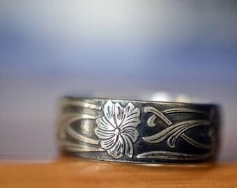 Oxidized Silver Art Nouveau Ring, Engravable Wide Silver Wedding Band for Men, Custom Engraving