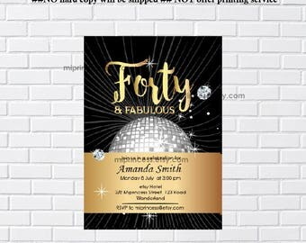 Elegant birthday invitation, disco ball design gold birthday forty and fabulous, 40th 50th Fifty and fabulous any age invitation - card 291