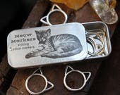 Snag Free Silver Cat Stitch Markers with Tin, Meow Markers Stitch Markers, Gifts for Knitters, Knitting Stitch Markers, Knitting Tools, Cat