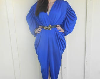 Vintage 1980s CLIMAX JOAN HOWARD blue draped gown, size 10