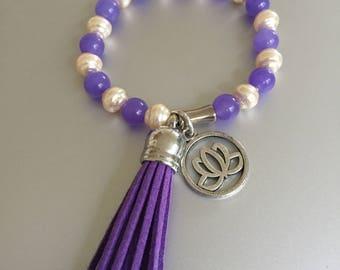 Lavender Jade and Pearls with Tassle and Lotus Flower Bracelet