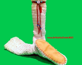 """15"""" Tall Slipper Socks, With Leather Wrap And Suede Soles, Women's Slipper Socks, Hippie Clothes, Chunky Socks, Warm Socks, Thick Sock, Boho"""