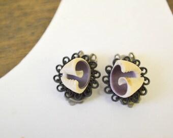 1960s Shell Clip Earrings