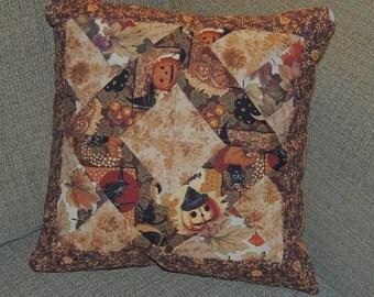 OOAK Halloween Patchwork Pillow Witch Tan Brown quilted pumpkins tan cream jack o lantern Thanksgiving autumn jack o lantern leaves