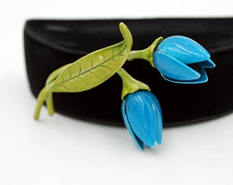 Blue Enamel Flower Brooch -  Tulips, ca. 1960s