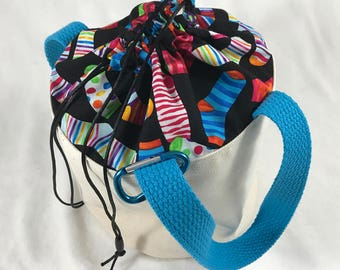 Socks & Stripes - Blue Handles - Bitty Bucket Bag