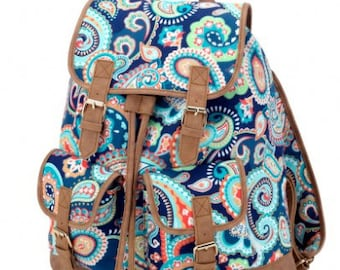 FREE monogramming - Personalized Monogrammed Full sized Embroidered Emerson Paisley Campus Backpack Bookbag