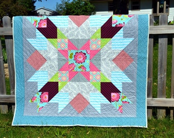 Handmade Lap Quilt, Throw Blanket, Modern Patchwork - Pink and Teal Flowered Star - Modern Star Pattern Quilt