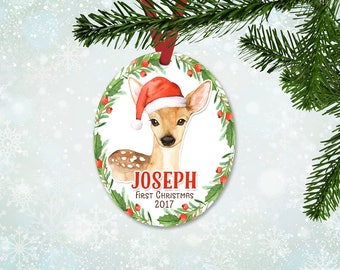 Personalized First Christmas Ornament, Baby Boy Keepsake Ornament, Baby's 1st Christmas, Christmas Deer with Santa Hat, Christmas Gift (052)