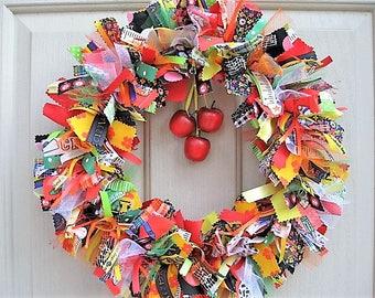 Teacher Wreath, Teacher Appreciation, Teacher Gifts, Classroom Door Decor, Back to School Ribbon Wreath, School Door Hanger, School Party