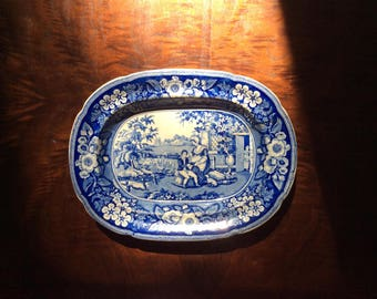 RARE Antique Blindboy Pattern Pottery -English Antique Stoneware Platter