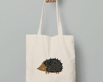 Canvas tote bag, Hedgehog canvas tote, gift for her