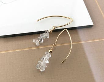 Gold Rough Herkimer Diamond Earrings
