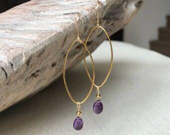 Amethyst Earrings, Amethyst Earrings in Gold or Silver, Gold or Silver Amethyst Hoop Earrings, Amethyst Hoop Earrings, Amethyst Hoop