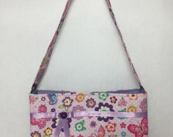 Little Girl's Butterfly & Flowers Fabric Purse (purple and pink)