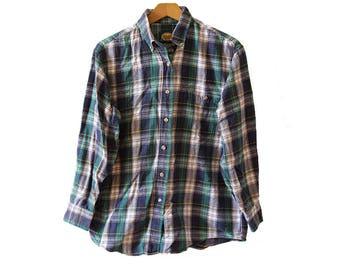 Vintage Green Blue White Flannel Shirt Women's Size Medium