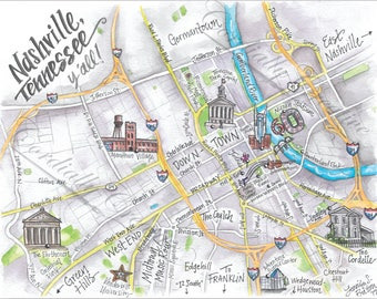 Downtown Nashville Map watercolor illustration print 8x10 inches, digitally printed on white linen stock, hand drawn map, Tennessee
