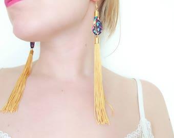 Long Tassel Earrings - Yellow Drop Earrings - Liberty Fabric Earrings - Blue Floral Earring -Yellow Fringe Jewelry - Gift for Sister