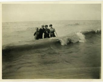 "Antique Photograph ""Lost Among the Surf"" Blurry Blur Action Motion Women Swimming Water Nature Beach Sea Old Black & White Vernacular - 24"