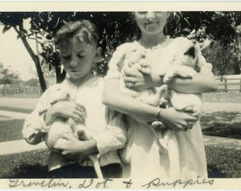 "Vintage Photo ""Puppies for Sale"" Vernacular Puppy Dog Animal Pet Boy Girl Children Brother Sister Cute Found Old Pic Photograph Picture - 49"
